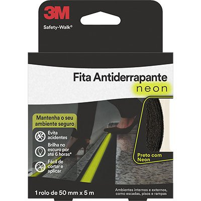 FITA ANTIDERRAPANTE SAFETY-WALK FOSFORESCENTE RL 50MMX5M (CAIXA C/ 6 ROLOS)
