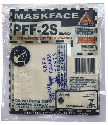 KIT 100 Respirador MASKFACE PFF-2S Branca CA Nº 44456