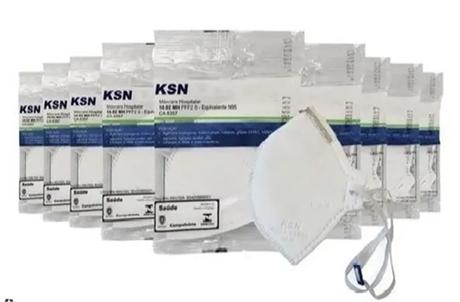 KIT 10 MASCARAS HOSPITALAR PFF-2S KSN CA 8357