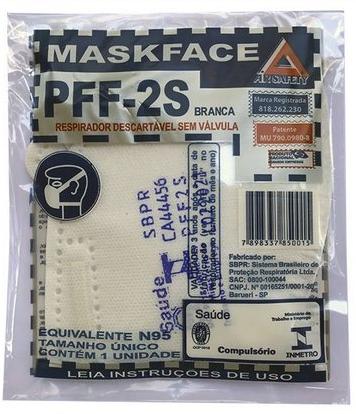 KIT 10 Respirador MASKFACE PFF-2S Branca CA Nº 44456
