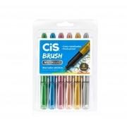 Caneta CIS Brush Pen Metallic 6un.
