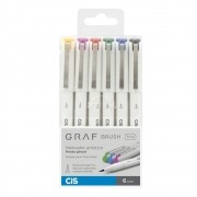 Caneta CIS Graf Brush Fine 6un.