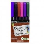 Caneta NEWPEN Brush Pen Cores Básicas 6un.