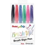 Kit Caneta PENTEL Brush Pen Touch Sign 6un.