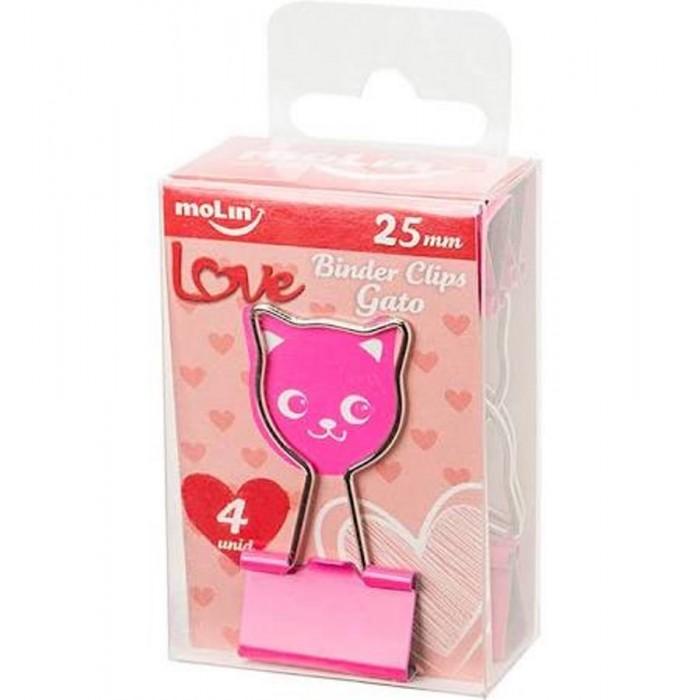 Binder MOLIN  Love Gato 25 mm Rosa 4 un.