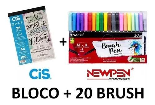 Bloco Exercício Lettering Cis + 20 Caneta Brush Pen Newpen