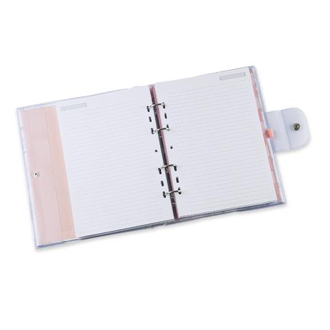 Caderno ÓTIMA Argolado PVC Pink Stone Mármore