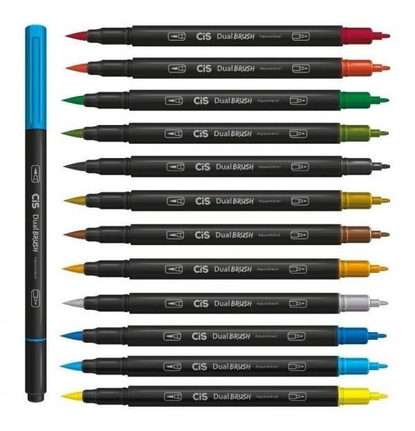 Caneta CIS Dual Brush Pen Aquarelável 12un. + blender