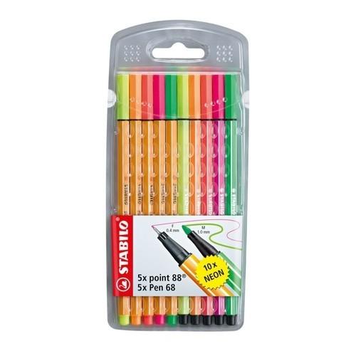 Caneta STABILO Pen 88 e 68 Neon 10un.