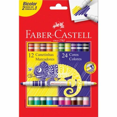 Canetinha FABER CASTELL Hidrográfica 24 Cores Bicolor 12un.