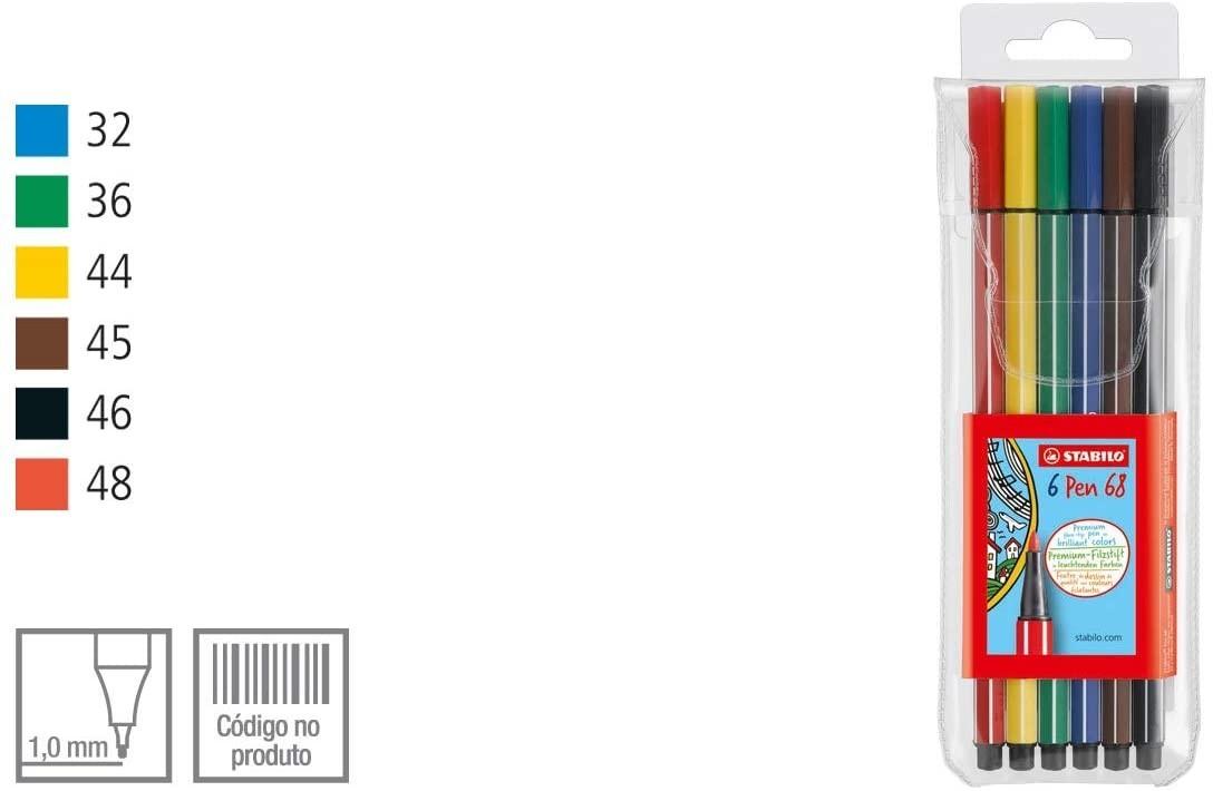 Caneta STABILO Pen 68 6un.