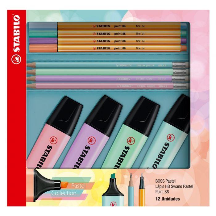 Kit STABILO Coleção Pastel Boss + Point 88 + Lápis Swano