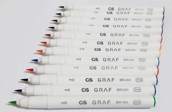 Marcador Artístico CIS Graf Brush Pen 12un.
