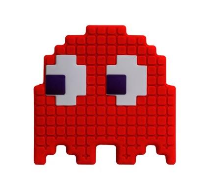 Abajur Infantil Luminária de Mesa Fantasminha Pac-Man Vermelho Blinky Licenciada