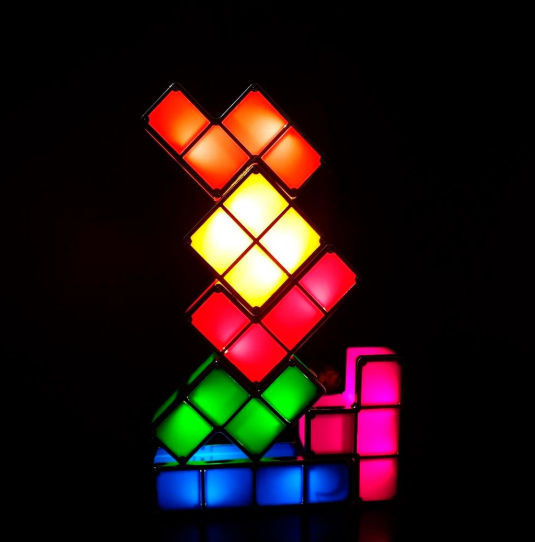 Brinquedo Abajur Luminária de Mesa Tetris montável LED