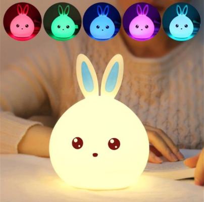 Brinquedo Luminária Coelho Sensível ao Toque - Recarregável por cabo USB