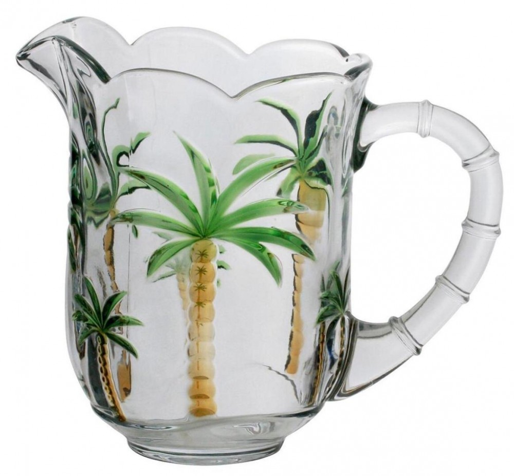 JARRA CRISTAL PALM TREE HAND PAINTING 1,3L