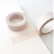 Washi Tape Grid Branca com Linhas Beges
