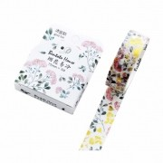 Washi Tape Mini Floral com foil dourado