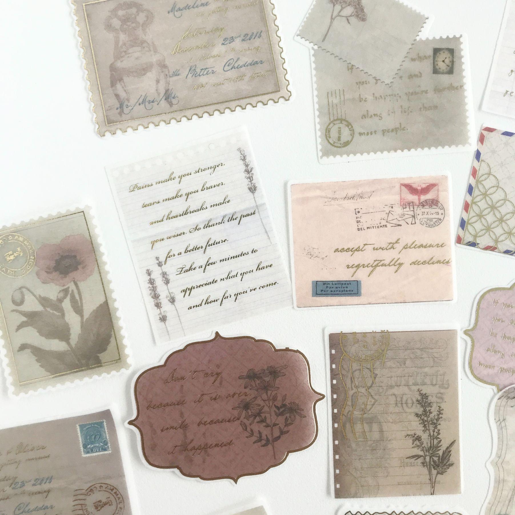 Adesivos Cartas Vintage com foil dourado