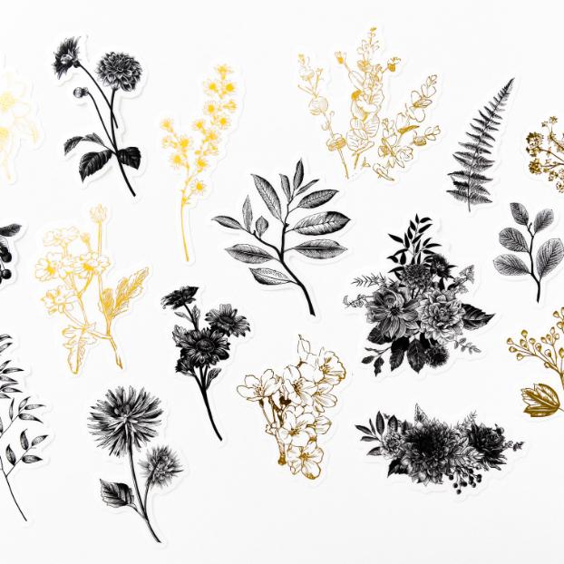 Adesivos Floral Preto e Dourado