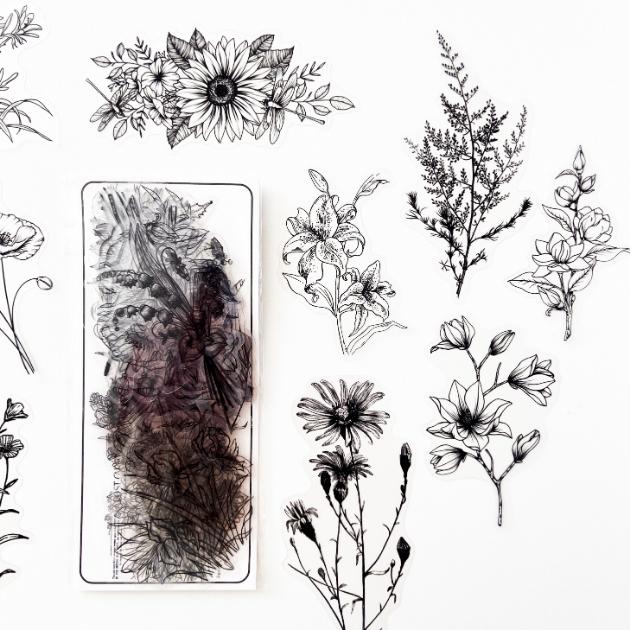 Adesivos Floral Transparente Black