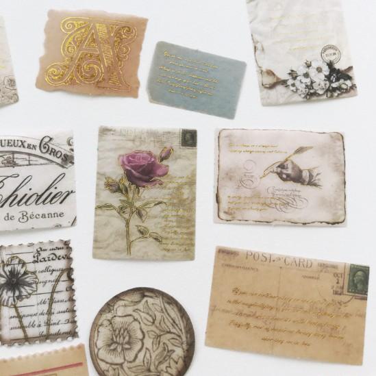 Adesivos Papeis Vintage com foil