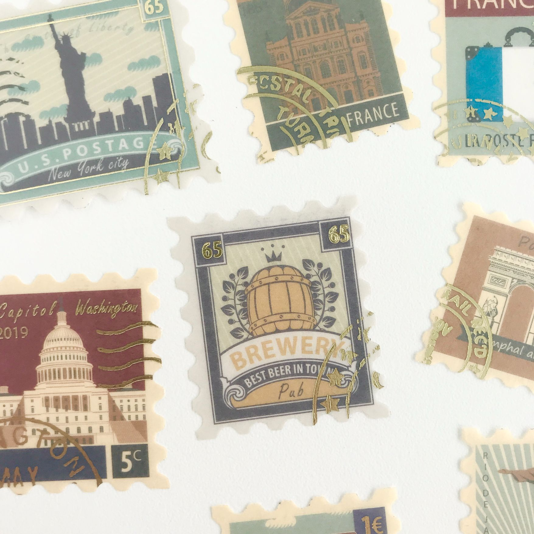 Adesivos Selos Cidades com foil dourado