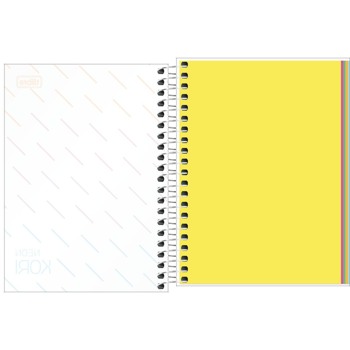 Caderneta Espiral Neon Kori Folhas Coloridas