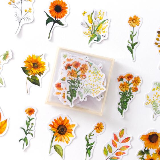 Caixinha de Adesivos Transparente Flores Amarela