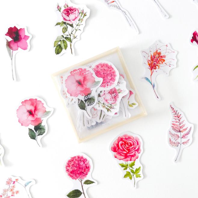 Caixinha de Adesivos Transparente Flores Rosa