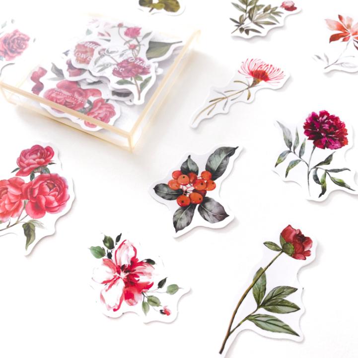 Caixinha de Adesivos Transparente Flores Vermelha
