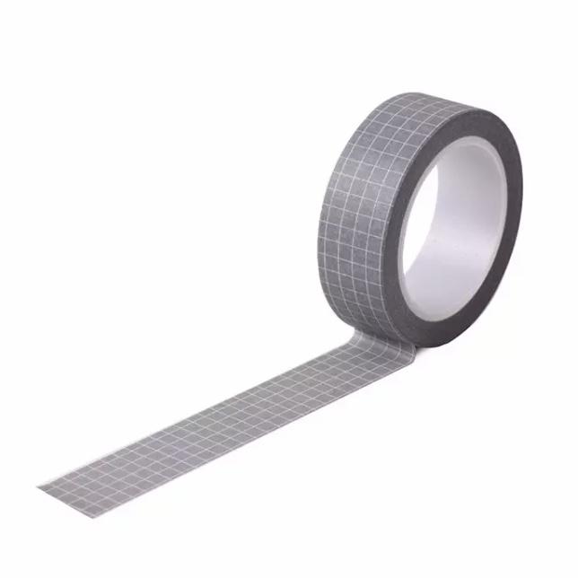 Washi Tape Grid Cinza