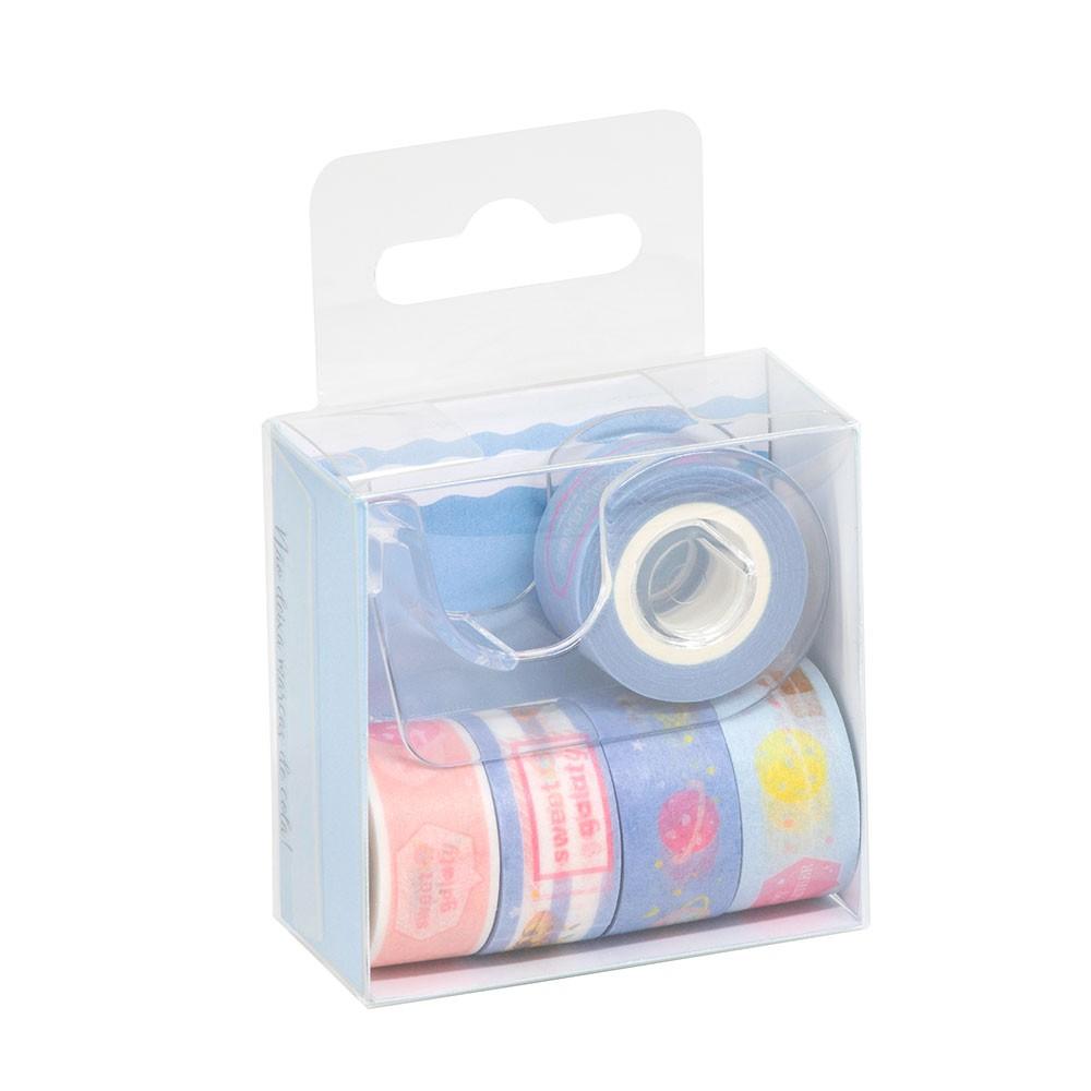 Kit 5 Washi Tapes com dispenser BRW