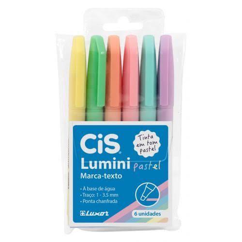Kit Marca Texto Cis Pastel Lumini 6 Cores