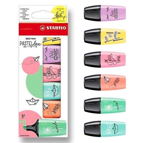 Kit Stabilo Boss Mini Pastel Love c/ 6