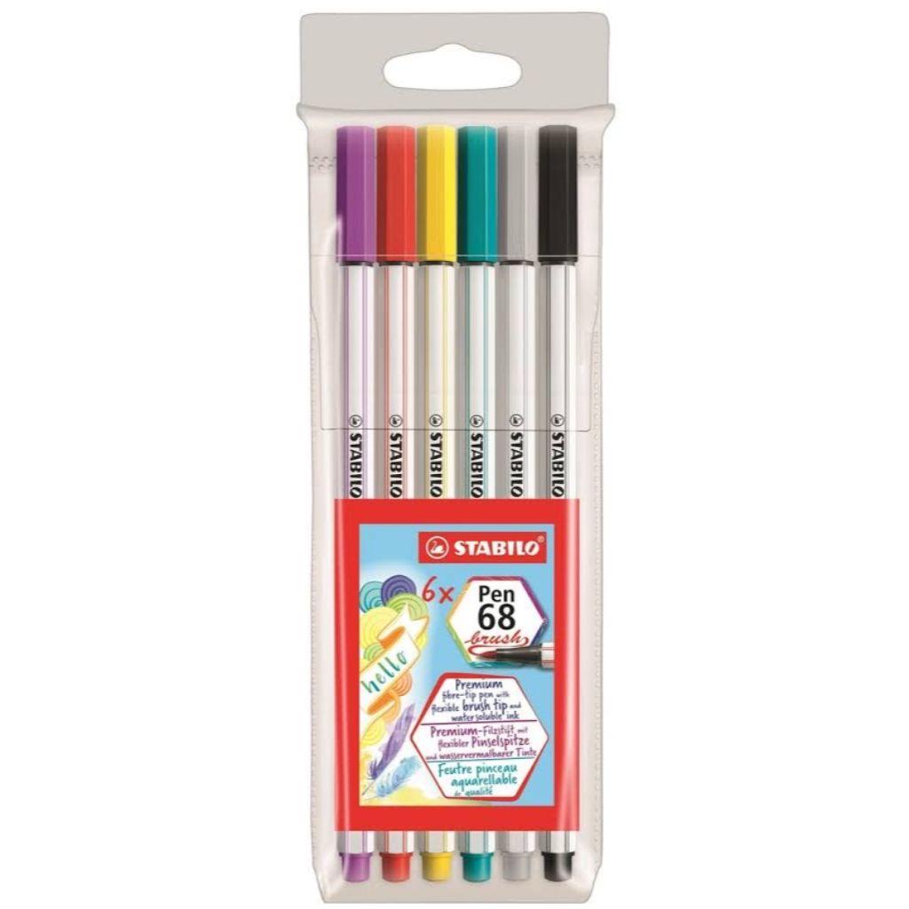 Kit Stabilo Brush Pen 6 cores