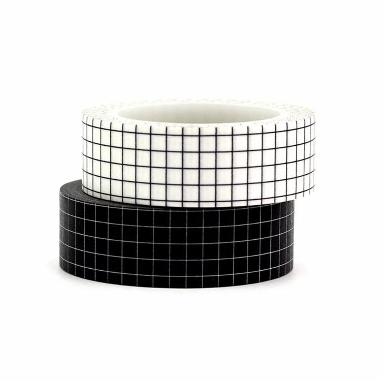 Kit Washi Tapes Grid Preto e Branca