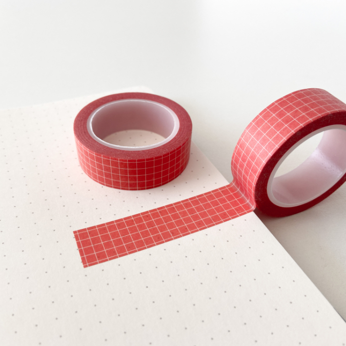 Washi Tape Grid Vermelha