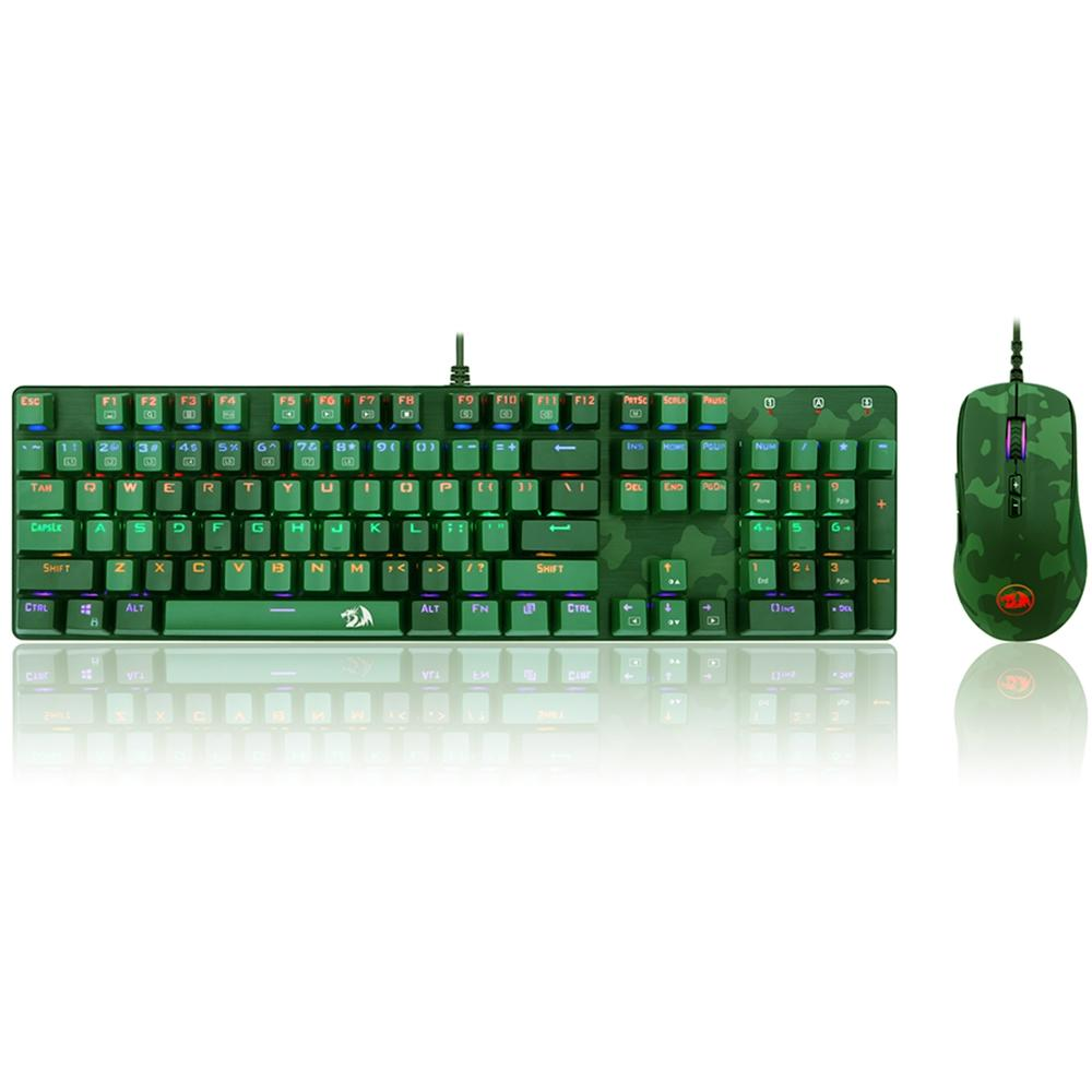 Kit Gamer Redragon S108 Light Green - Teclado Mecânico, Rainbow, Switch Outemu Blue, ANSI + Mouse RGB Camuflado