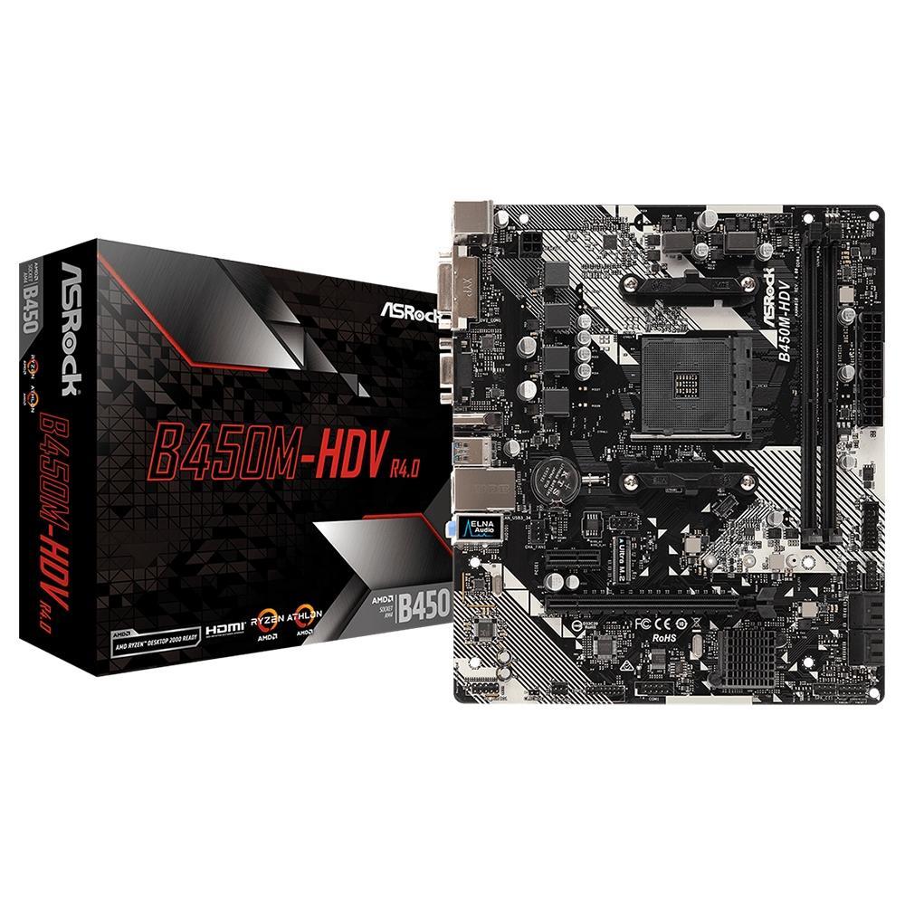 Placa Mae AM4 AsRock B450M-HDV R4.0 DDR4 HDMI