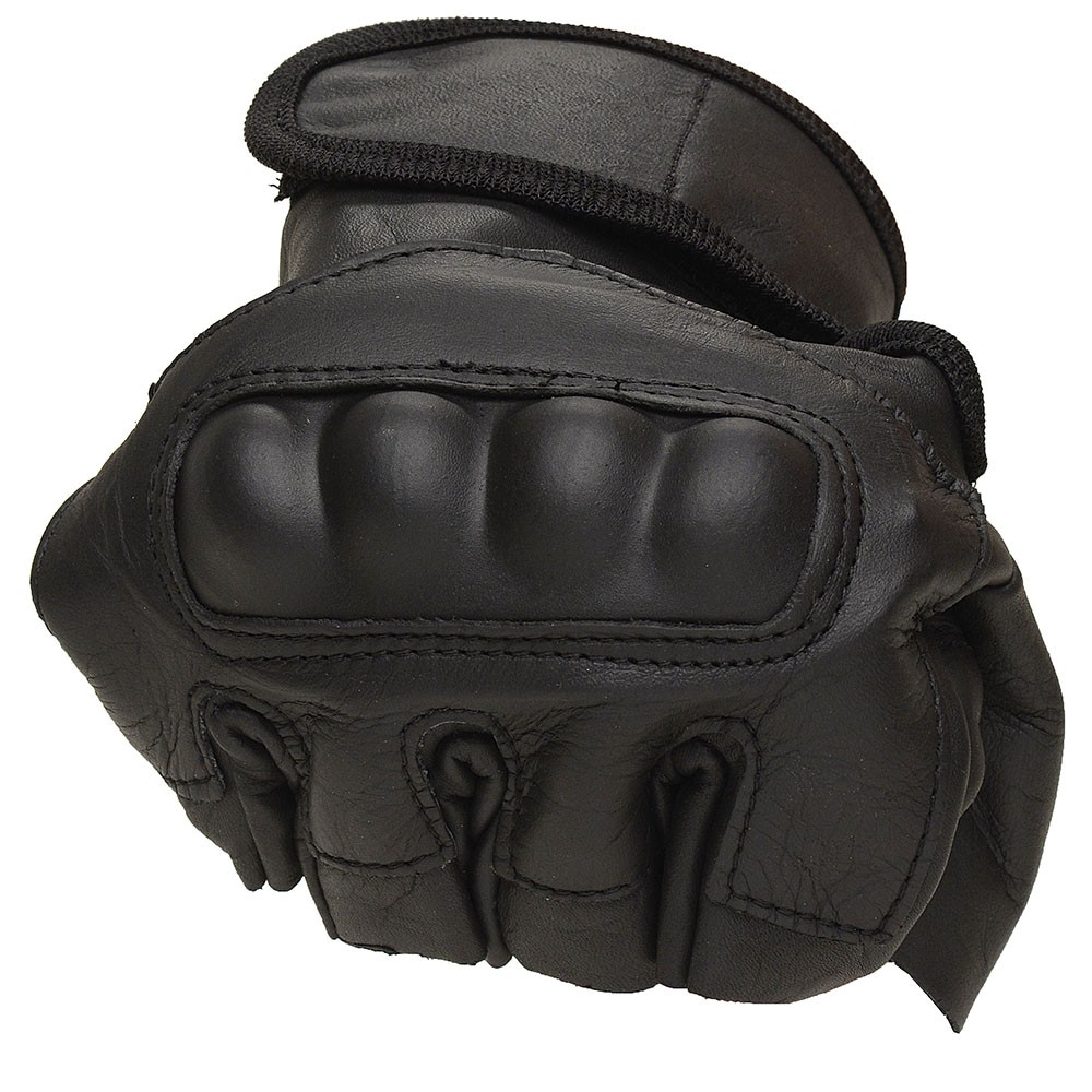 Luva de Couro Proteção 1/2 dedo + Cinto de Couro Preto