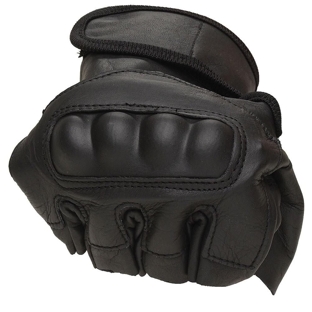 Luva de Couro Proteção 1/2 dedo + pulseira caveira