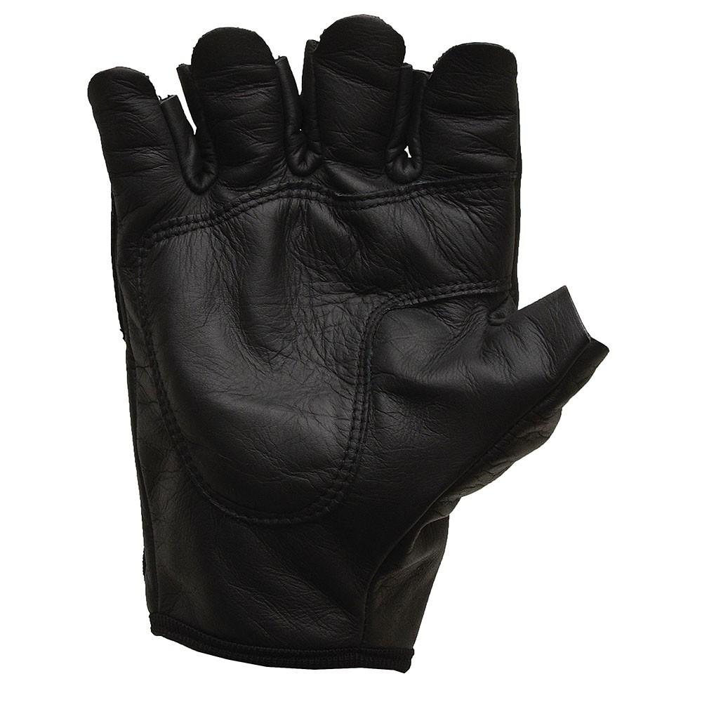 Luva de Couro Proteção 1/2 dedo + Pulseira Preto
