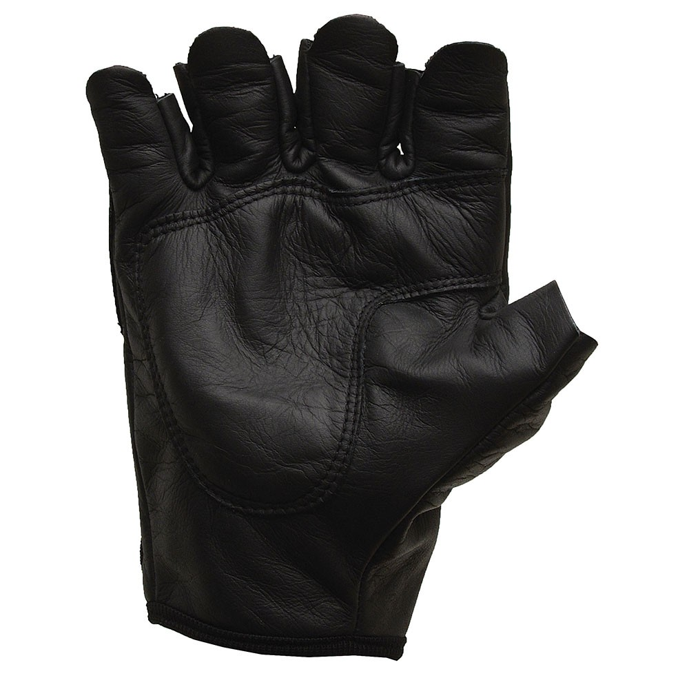 Luva Motociclista MTS 1010 - Couro - Cano Curto - 1/2 dedo - com proteção