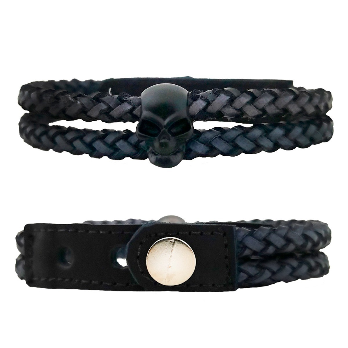 luvas de Couro proteção 1/2 dedo + pulseira caveira preto