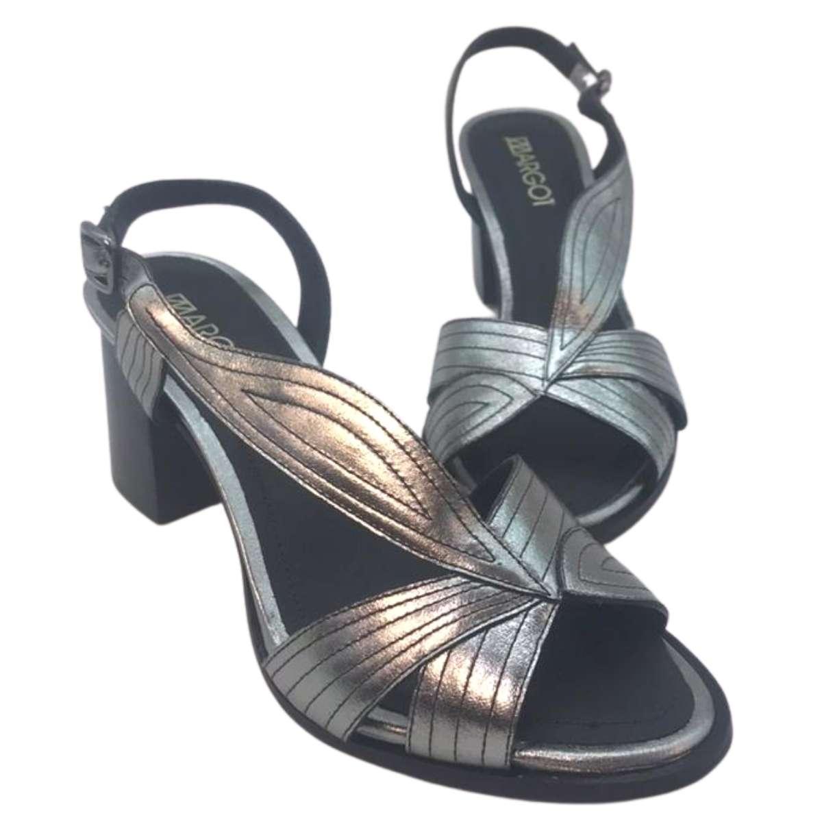 Sandália Bloco Margot 77360-V20 Metalizado