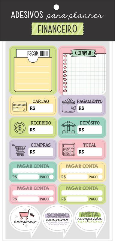 Adesivo para Planner Financeiro - Cartões Gigantes