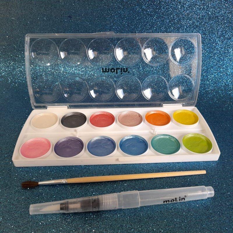 Aquarela - Molin - Metalizada c/12 cores e Aquabrush