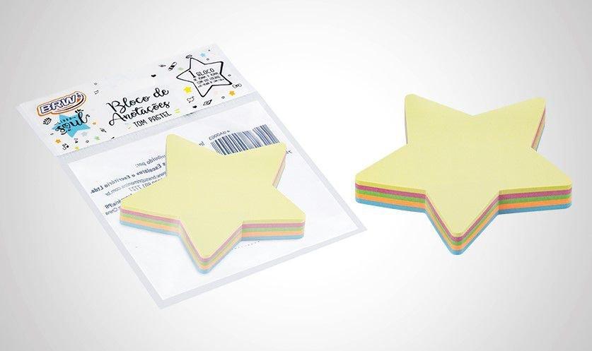 Bloco Adesivo BRW Estrela 5 cores